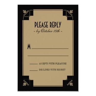 "Vintage Deco Black & Gold Response 3.5"" X 5"" Invitation Card"