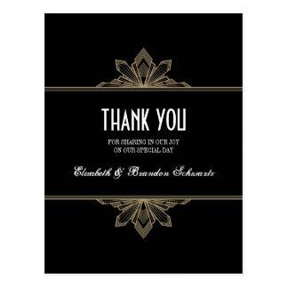 Vintage Deco Black & Gold Thank You Post Card