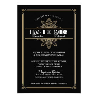 Vintage Deco Black & Gold Wedding Invitation