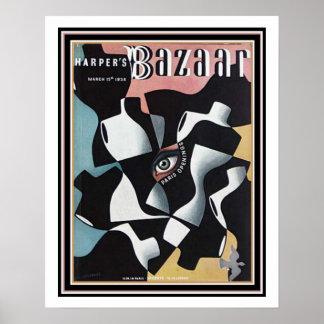Vintage Deco Harper's Bazaar Poster 16 x 20