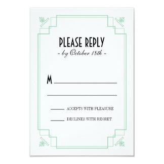"Vintage Deco Mint & Black Response 3.5"" X 5"" Invitation Card"