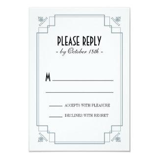 "Vintage Deco Silver & Black Response 3.5"" X 5"" Invitation Card"