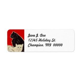 Vintage Deco style Cats Black & Wht address Labels