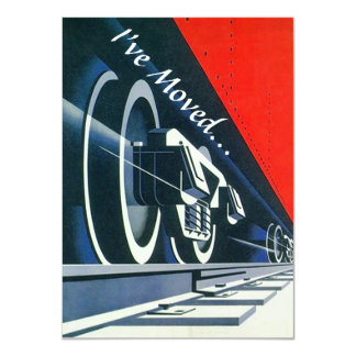 Vintage Deco Train Moved New Address Announement 11 Cm X 16 Cm Invitation Card