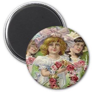Vintage Decoration Day Girls 6 Cm Round Magnet
