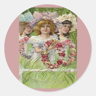 Vintage Decoration Day Girls Round Sticker