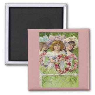 Vintage Decoration Day Girls Square Magnet