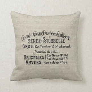 Vintage Decorator Pillow w/French Chocolate Ad