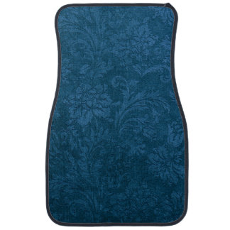 Vintage Deep Blue Floral Damask Car Mat