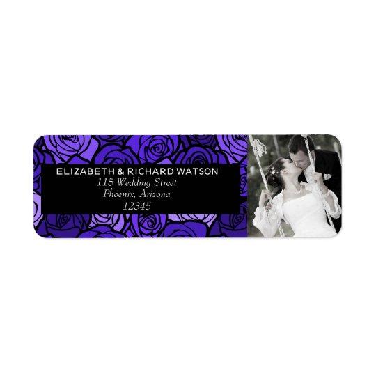 Vintage Deep blue roses Wedding Address Label
