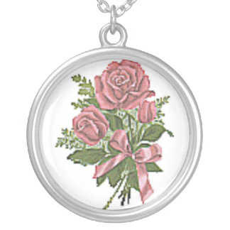 VINTAGE DEEP PINK ROSES PRINT ROUND PENDANT NECKLACE