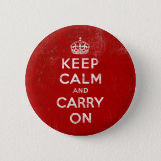 Vintage Deep Red Distressed Keep Calm and Carry On 6 Cm Round Badge