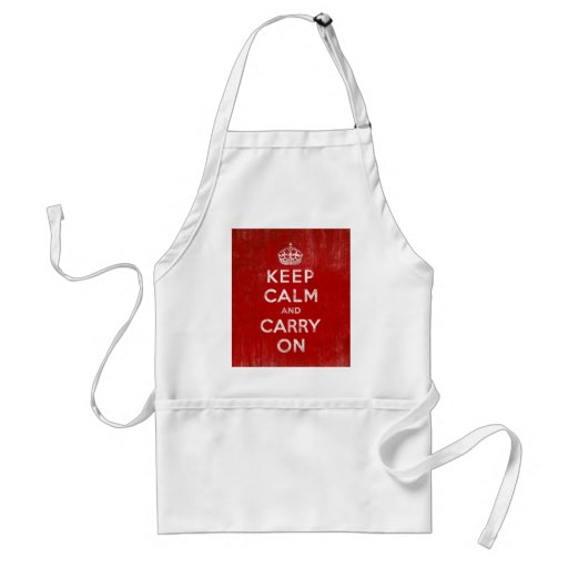 Vintage Deep Red Distressed Keep Calm and Carry On Aprons