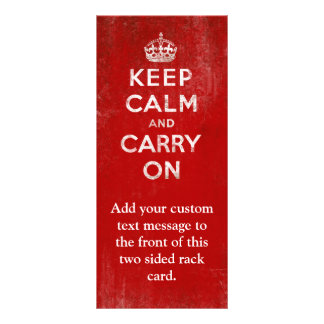 Vintage Deep Red Distressed Keep Calm and Carry On Customized Rack Card