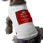 Vintage Deep Red Distressed Keep Calm and Carry On Sleeveless Dog Shirt