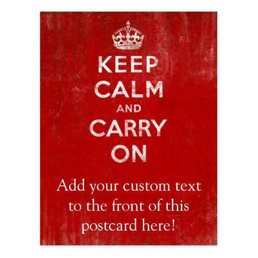 Vintage Deep Red Distressed Keep Calm and Carry On Post Cards
