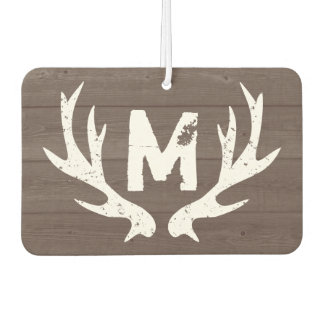 Vintage deer antlers monogram car air freshener