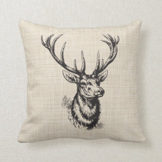 Vintage Deer Antlers on Faux Linen texture Throw Cushion