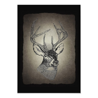 Vintage deer art graphic 13 cm x 18 cm invitation card