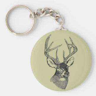 Vintage deer art graphic key ring