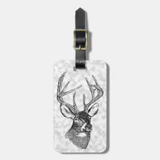 Vintage deer art graphic luggage tag