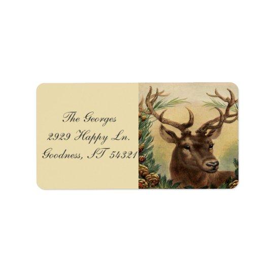 Vintage Deer Buck Stag Nature Rustic Christmas Label