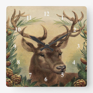 Vintage Deer Buck Stag Nature Rustic Christmas Square Wall Clock