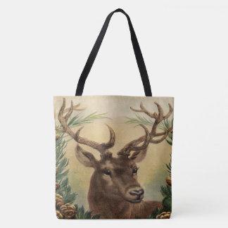 Vintage Deer Buck Stag Nature Rustic Christmas Tote Bag
