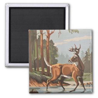 Vintage Deer Forest Scenic PBN Magnet