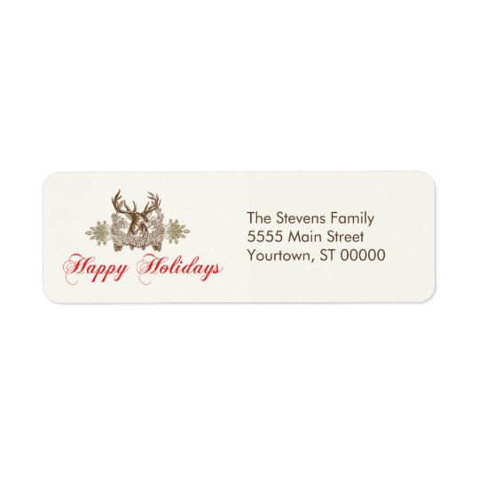 Vintage Deer Head Classic Holiday Greeting Return Address Label