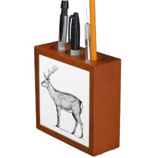 Vintage Deer Illustration, Stag Drawing Desk Organiser