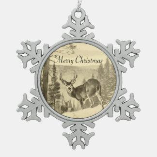 Vintage Deer In Woods Snowflake Pewter Christmas Ornament