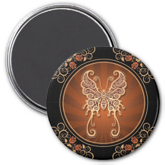 Vintage Delicate Brown Butterfly Fridge Magnet