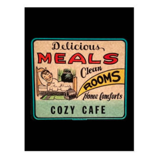 Vintage Delicious Meals Clean Rooms Home Comforts Postcard
