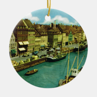 Vintage Denmark, Copenhagen waterfront Ceramic Ornament