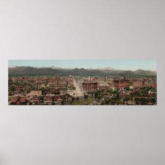 Vintage Denver Colorado Skyline Panoramic Photo Poster