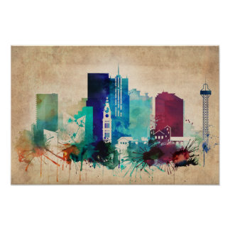 Vintage Denver Skyline Wall Decor Poster