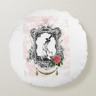 Vintage design,Collage,Shabby Chic,Pink. Round Cushion