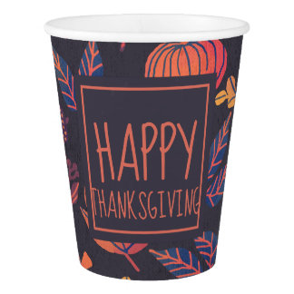 Vintage Design Happy Thanksgiving | Paper Cups