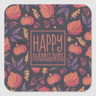 Vintage Design Happy Thanksgiving Sticker Seal