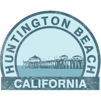 Vintage Design of Huntington Beach Pier Photo Sculpture