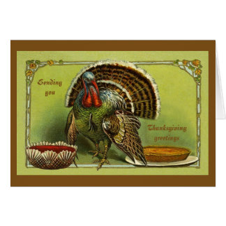 Vintage Design Thanksgiving Greetings Greeting Cards