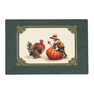 Vintage Design Thanksgiving Placemats Laminated Placemat