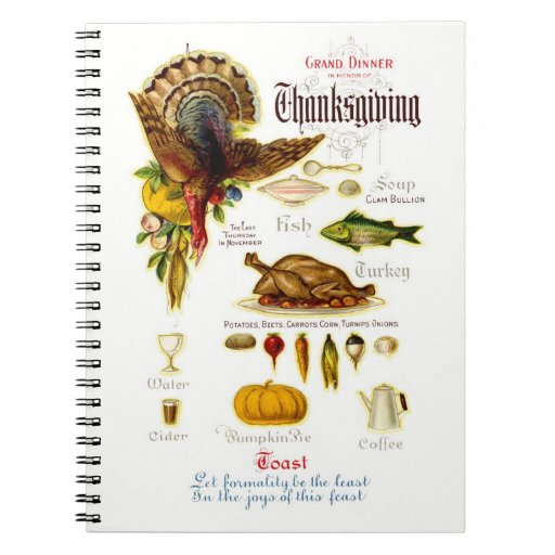 Vintage Design Thanksgiving Recipe Book Notebooks