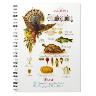 Vintage Design Thanksgiving Recipe Book Spiral Note Book