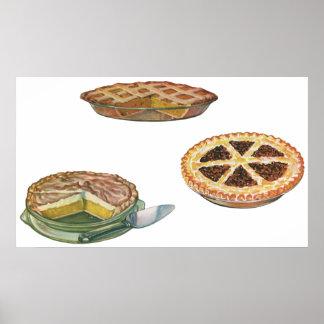 Vintage Desserts Pies Pecan Pumpkin Lemon Meringue Poster