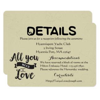 Vintage Details Directions Tan Black Wedding Love Card