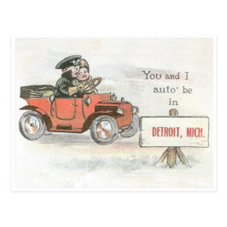 Vintage Detroit Auto Postcard