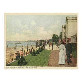 Vintage Detroit Bath House Postcard