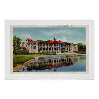 Vintage Detroit Belle Isle casino lagoon Posters